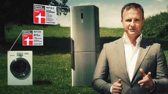 Produktvideo Waschmaschine, Kühlgefrier-Kombination und ein Ebretti Elektro-Roller
